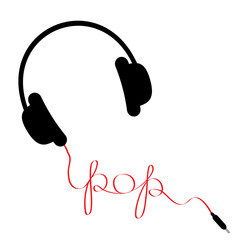 Black headphones red cord word pop. Music  Flat design.