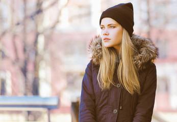 Stylish hipster girl, street fashion