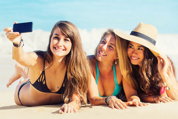Girls Taking a Selfie at the Beach