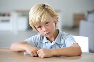 Portrait of sweet blond little boy