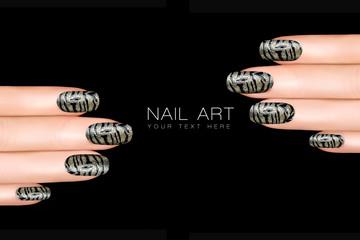 Tiger Nail Art. Nail Polish Stickers with Animal Print