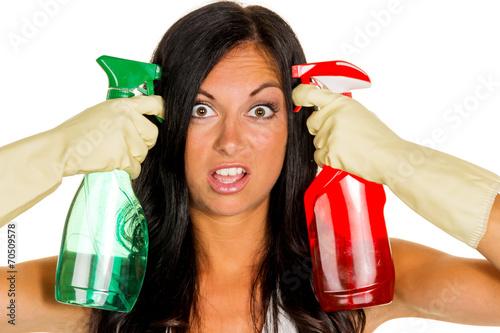 Hausfrau ärgert sich über putzen Stockfotos und
