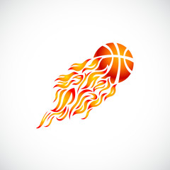 vector, flame, fire, ball, orange, basketball, symbol, icon,