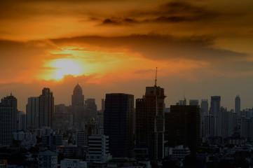Fototapeta Silhouette of city