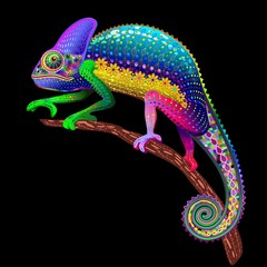 Acrylic Prints Draw Chameleon Fantasy Rainbow Colors