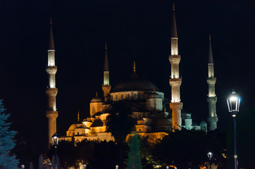 Sultan Ahmed mosque night landscape