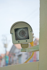 CCTV security camera attached on concrete post