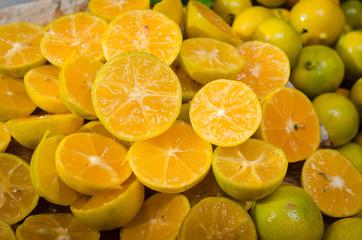 Many fresh slice Citrus fruit