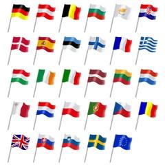 Drapeaux des pays membres de l'union Européenne