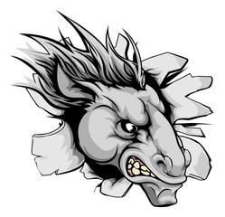 Horse mascot breaking through wall