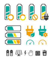 Battery recycling pictograms set