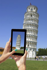 Photographing Leaning Tower with tablet