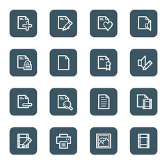 Document web icon set 1, navy square buttons