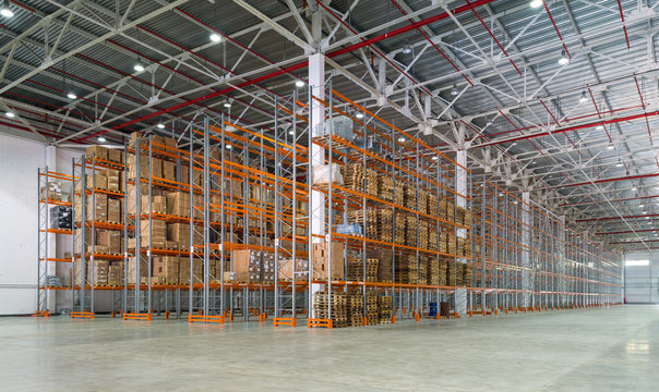 Big automated warehouse, panorama of modern shelving and rack system