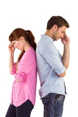 Irritated couple ignoring each other