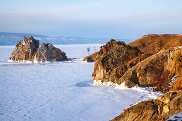 Rock Shamanka on Olkhon island in lake Baikal in winter