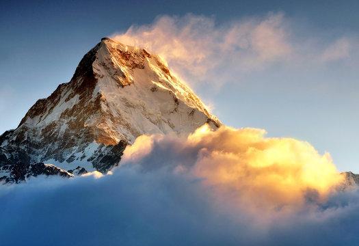 Sunrise at Annapurna mountains range, Machapuchere mountain