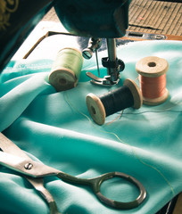 Sewing. Sewing machine and tools.