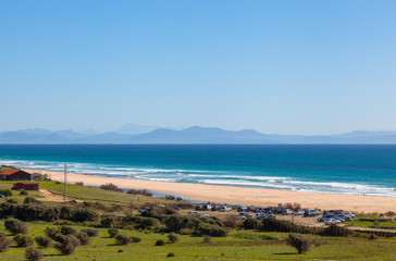 Bolonia beach, Morroco mountain in background