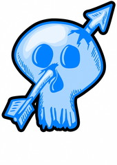 cartoon skull and arrow for label and design