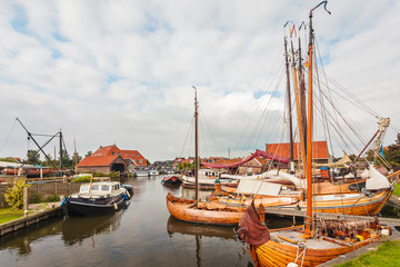 Old wooden sailing boats in The Netherlands