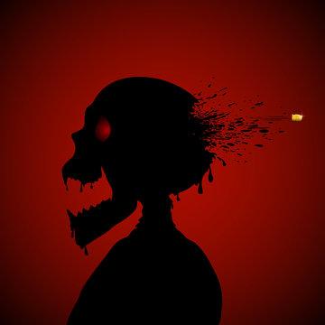 Skull and bullet