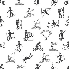 Extreme sports seamless pattern