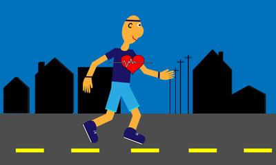 Heart Health with Jogging Cartoon