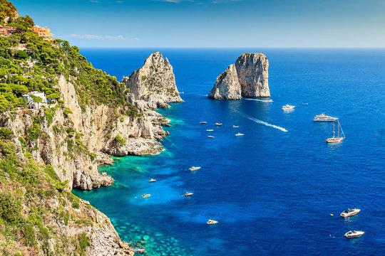 Capri island and Faraglioni cliffs,Italy,Europe