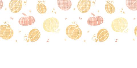 Vector thanksgiving pumpkins textile horizontal border seamless