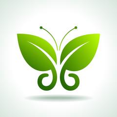 Eco logo green butterflies