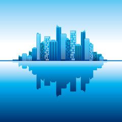 blue panorama city vector vertical background