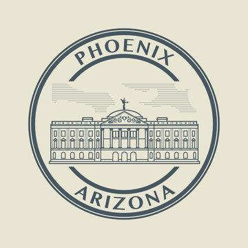 Stamp with name of Arizona, Phoenix, vector