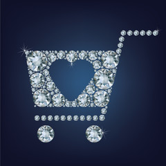Shopping basket sign made a lot of diamonds