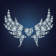 Heart with wings made a lot of diamonds