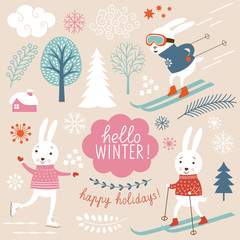 Cute sporting  rabbits and winter grachic elements