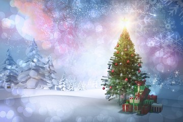 Composite image of christmas tree with gifts