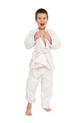 boy in white kimono posing