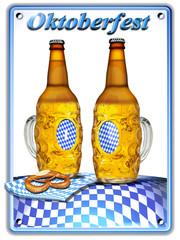 Oktoberfest mit Bier-Flaschenhumpen, comic, freigestellt