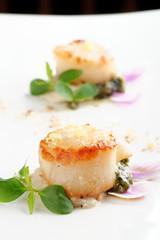 Scallops shells with thai basil pesto / Fusion food