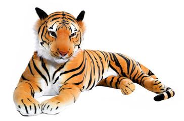 Stofftier Tiger isoliert auf weiß