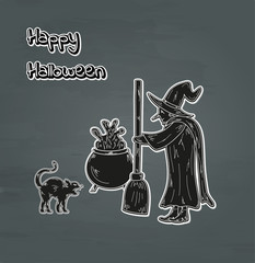 old witch, cat and cauldron