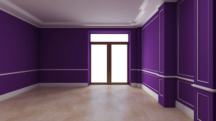 purple empty interior with door