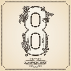 Calligraphic Font. Number 8. Vector Design Background