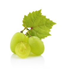 Photo of some grapes with leaves isolated on white
