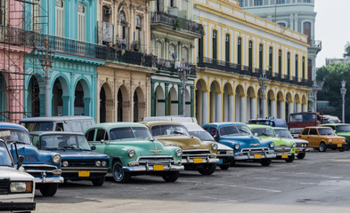 Wall Murals Havana Street scene with vintage car in Havana, Cuba.