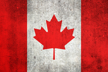 National flag of Canada. Grungy effect.