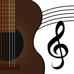 part of acoustic guitar and clef music on white background