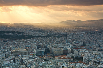 Bird eye view of Athens, Greece.