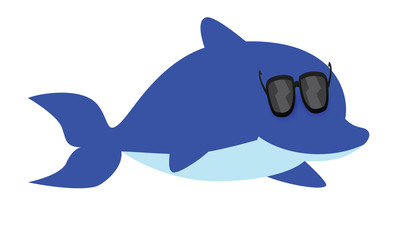 cartoon dolphin wearing glasses